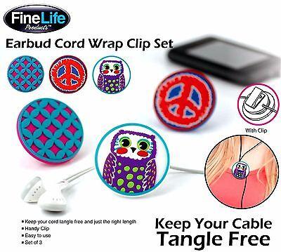 SALE ** EAR BUD CORD WRAP CLIP TRIO * Peace Owl Lattice & Tangle Free Cord * NIB