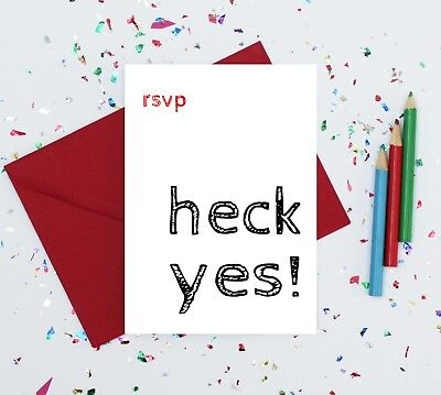 heck yes card - funny reply card - funny RSVP card - wedding acceptance card Wedding Reply Card