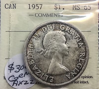 Click now to see the BUY IT NOW Price! CANADA 1957 SILVER DOLLAR MS 65  ICCS  WONDERFUL ORIGINAL COIN