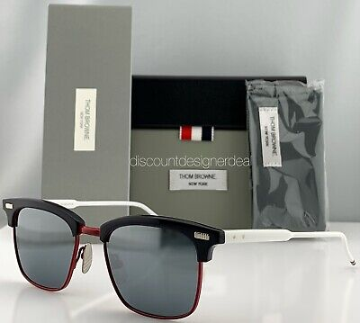 Thom Browne Clubmaster Sunglasses Blue Red White Silver Lens (White Clubmasters)