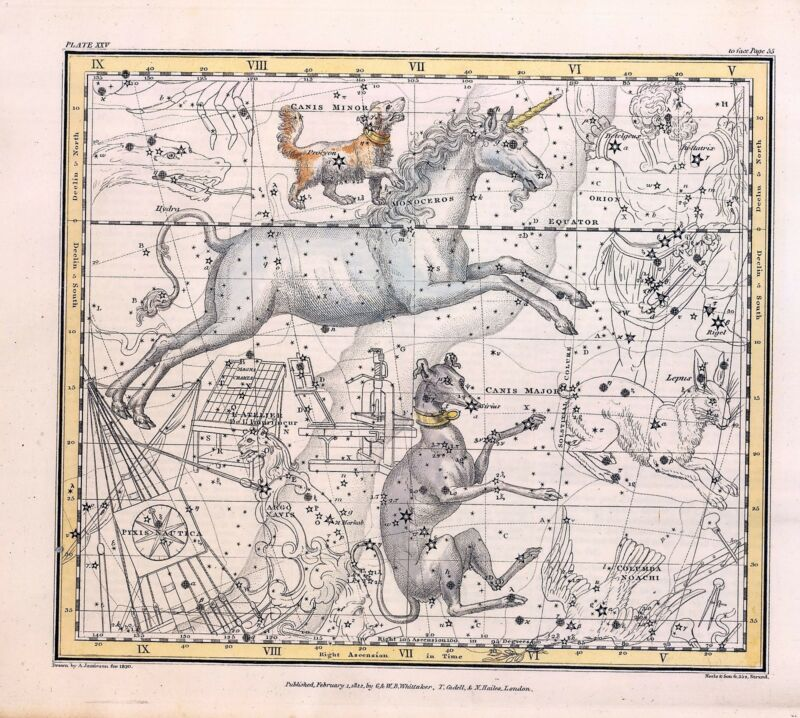 1822 ASTROLOGY ATLAS Print poster old  DOG STAR constellation canis UNICORN 33
