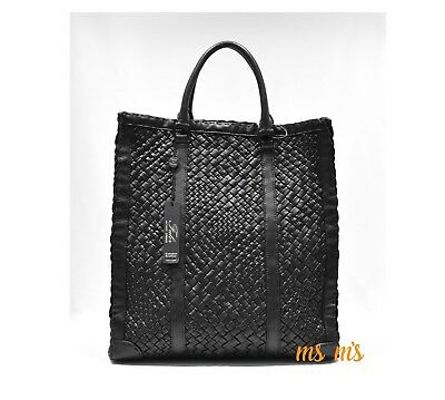 NWT FALOR Falorni La Borse ITALY Hand Woven Black Leather Tote