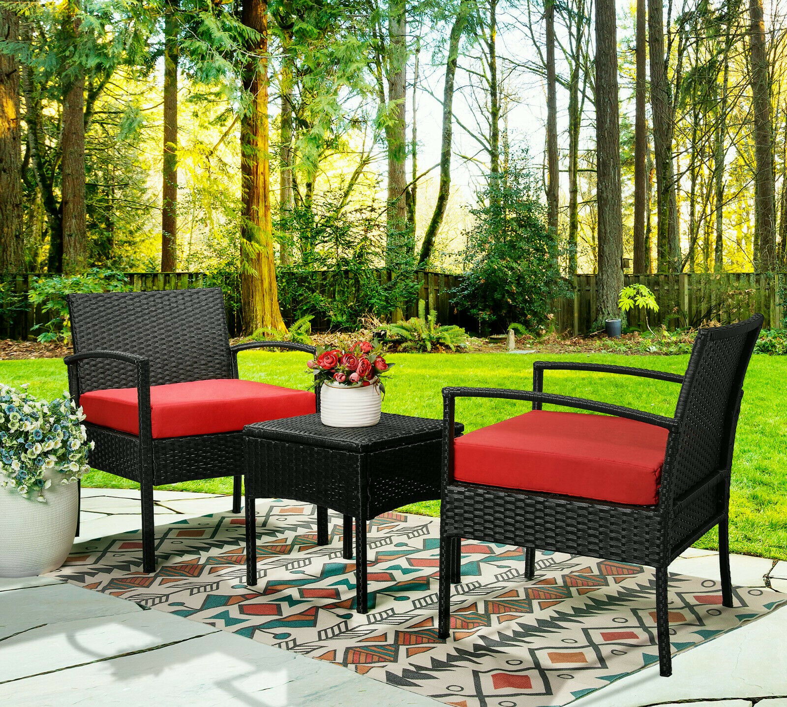 Garden Furniture - 3PCS Wicker Rattan Patio Furniture Sofa Set Cushion Coffee Table Garden Outdoor