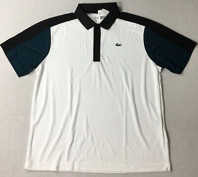 Lacoste Men Ultra Dry Sport Polo DH1333 White Size 7/XXL
