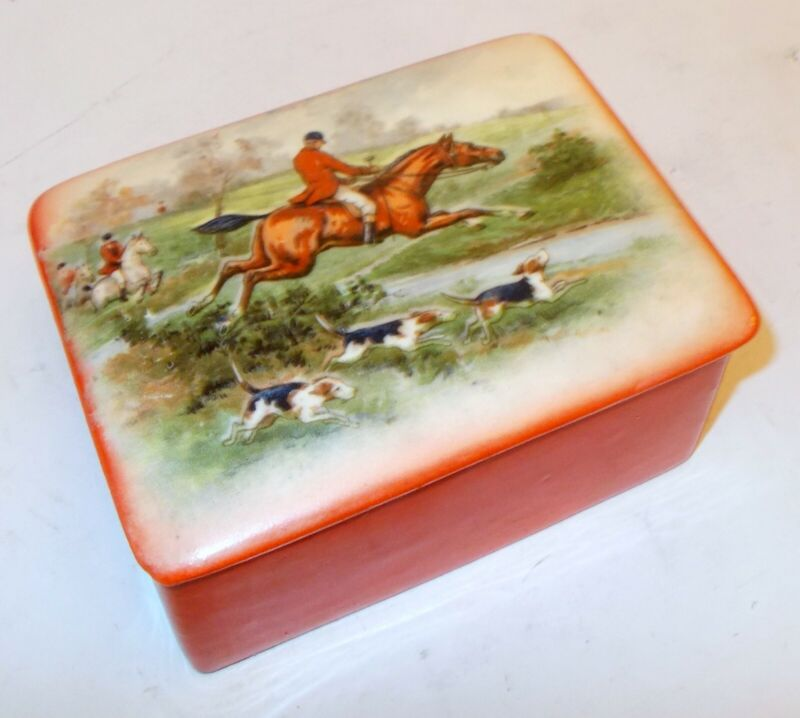 Vtg Czech ERPHILA Pottery Trinket Box FOX HUNT Horse Dog Equestrian