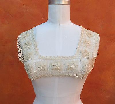 Antique Vintage Lace yoke Top 1900s Victorian Dress Nightgown Edwardian Ecru