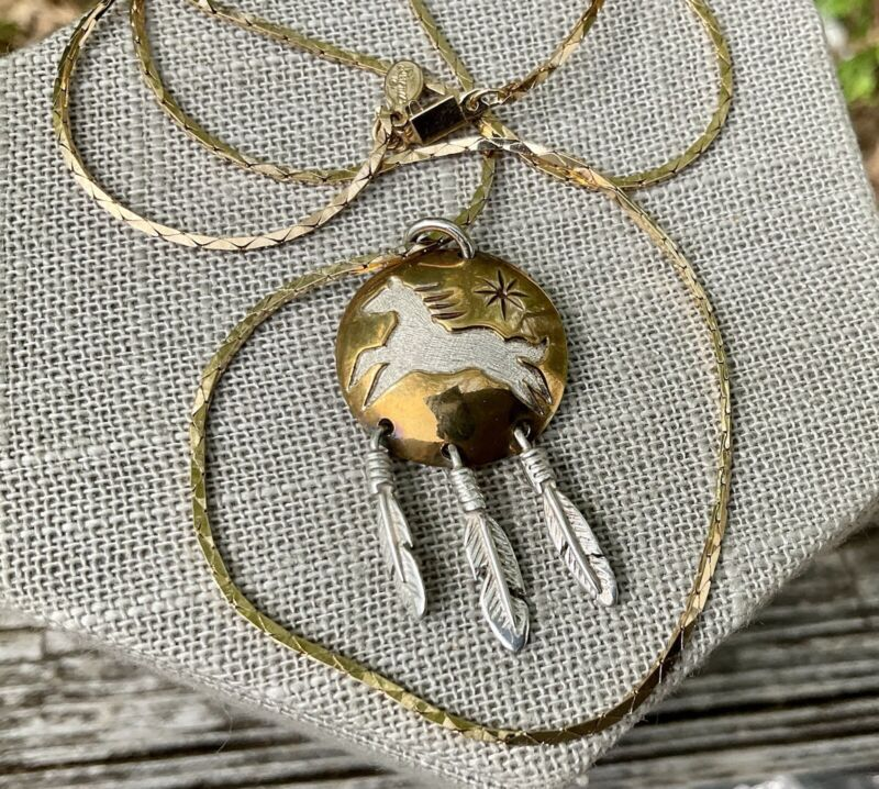 Mitchell Zephier Lakota Visions Sterling Silver Horse Feather Pendant