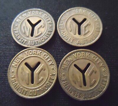 Lot of 4 - New York City Transit Tokens - Small