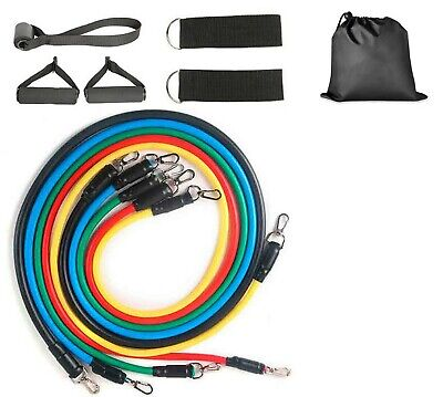 RESISTANCE BANDS 11 PCS SET TUBES YOGA WORKOUT HOME GYM EXERCISE CROSSFIT PULL