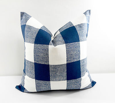 ( Blue pillow cover. Checkered Blue and White. Decor. Cotton. Select size)