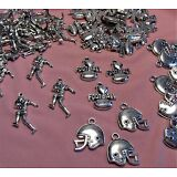 HUGE LOT 75 SILVER FOOTBALL CHARMS-PLAYERS-HELMETS-JEWELRY FINDINGS-SUPPLIES