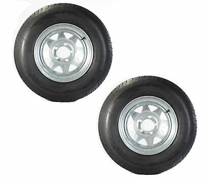 2-Pk Eco Trailer Tire On Rim ST215/75D14 14 in. LRC 5 Lug Galvanized Spoke Wheel