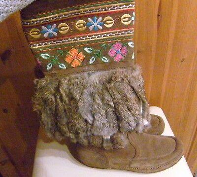 Original ASH DAKOTA Damen Echtfell Stiefel GR. 37 Fell Stickerei Schuhe NEU