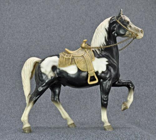 "Breyer Western Prancing Horse ""Cheyenne"" Glossy Black Pinto Complete (Lot 3)"