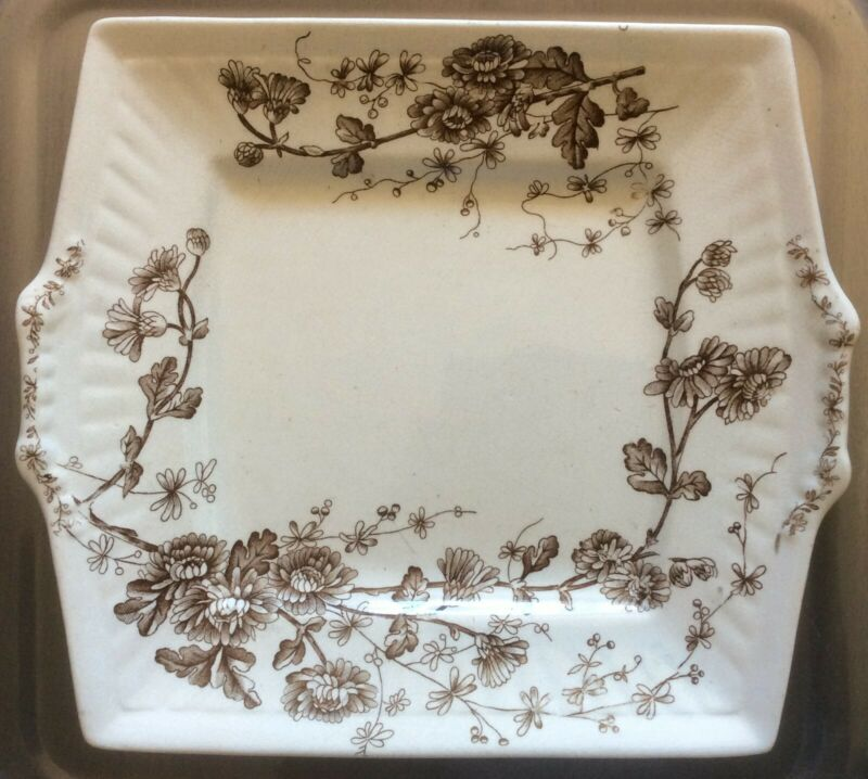 """WH Grindley Brown Transferware Staffordshire Square Cake Serving Plate """"Spring"""""""