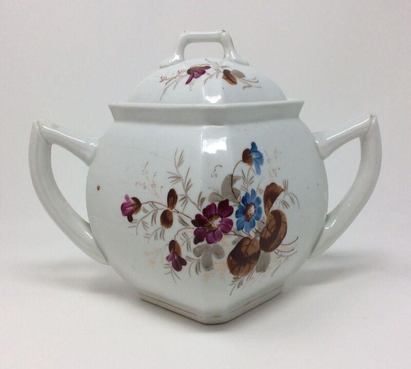 Antique Victorian Old Paris Hand Painted Porcelain Floral Sugar Bowl