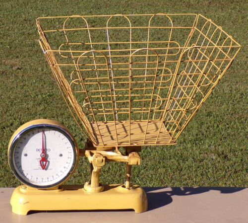 Rare Vintage Original Yellow DetectoDry Cleaning Laundry Scale With Wire Basket