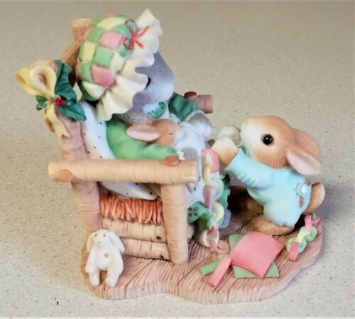 """1998 Enesco My Blushing Bunnies """"The Holidays Join Us Together"""" 386871"""