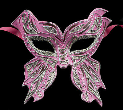 Mask from Venice Farfella Pink Silver Glitter Butterfly Paper Mache 22523