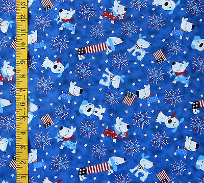 """FABRIC - HOLIDAY INSPIRATIONS """"PATRIOTIC PUPPY"""" DOG, DACHSHUND 100% COTTON 1 YD., used for sale  Corvallis"""