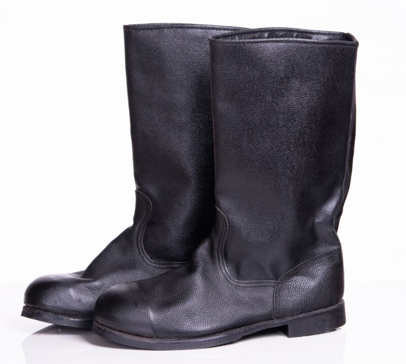 Russian black leather military Kirza boots size 45 Soviet USSR