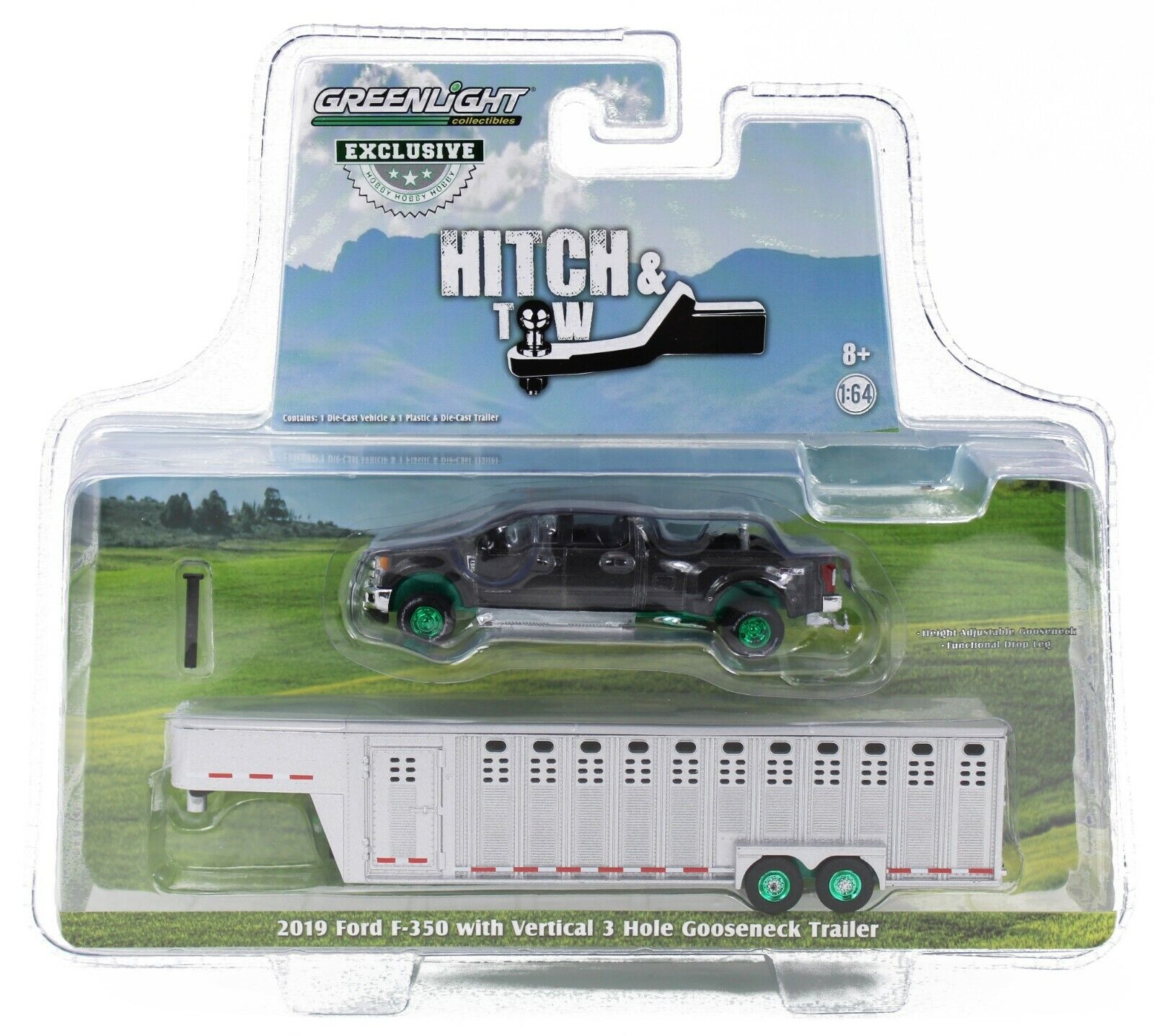 1:64 GreenLight *MAGNETIC* 2019 Ford F350 w/LIVESTOCK TRAILER GREEN MACHINE