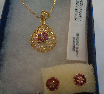 18KT GOLD OVER STERLING SILVER  NECKLACE & MAT. EARRINGS, W, RUBY & DIAMOND ACCE