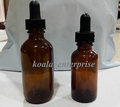 Eye Droppers 2 Different Size 1oz And 2oz Amber Glass Bottles With Droppers