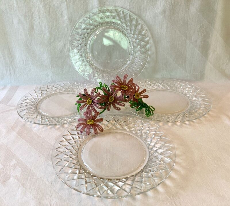 Set (4) Stunning Signed Hawkes Delft Diamonds Salad Plates