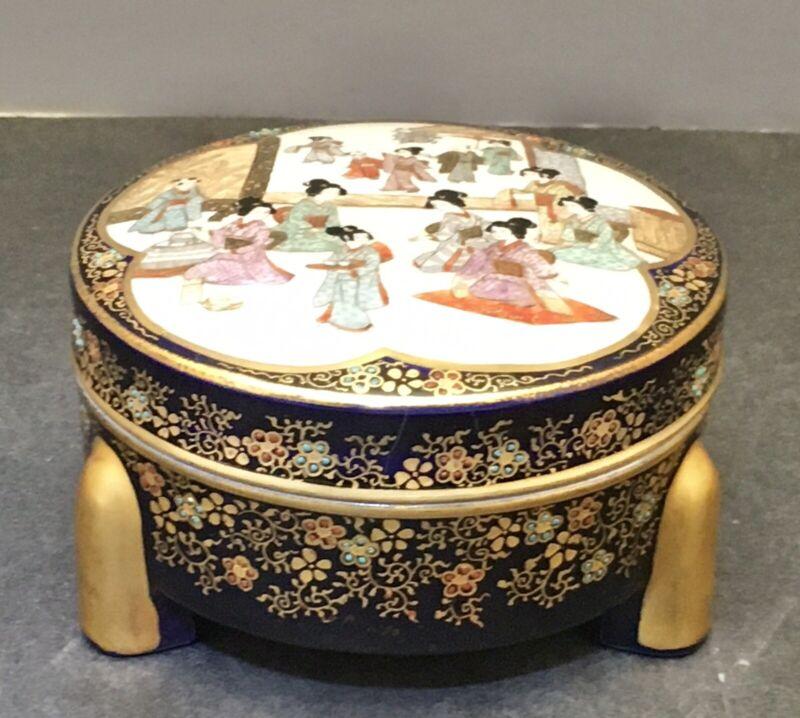 Japanese Meiji Cobalt- Blue Satsuma lidded Box by Kinkozan