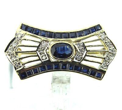 1.00 ct tw Sapphires 14k Yellow Gold .10 ct tw Diamonds Beautiful Brooch
