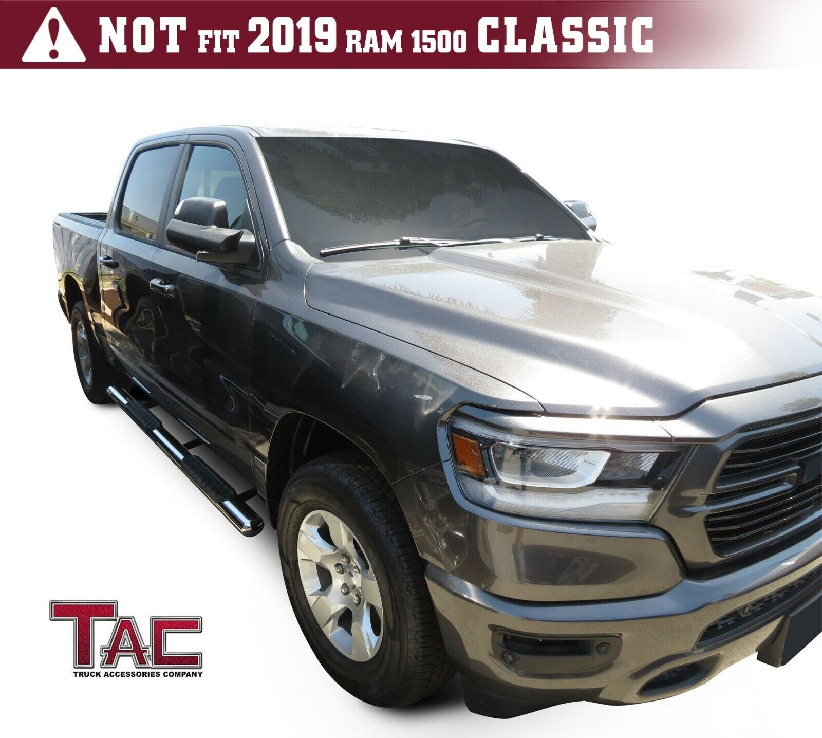 Excl. 2019 Ram 1500 Classic Truck Pickup 3 Texture Black Side Bars Nerf Bars TAC Side Steps Running Boards Fit 2019-2020 Dodge Ram 1500 Crew Cab