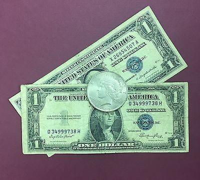 1935, 1957 Silver Certificate & 1922-1935 PEACE SILVER DOLLAR VG-AU 90% SILVER