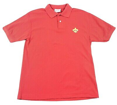 BSA Boy Scouts of America Mens Medium Uniform Polo Shirt Red USA Made