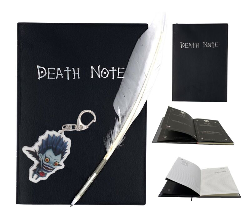 Death Note Book Cosplay Notebook Journal Diary+Feather Pen Theme Note I9H7