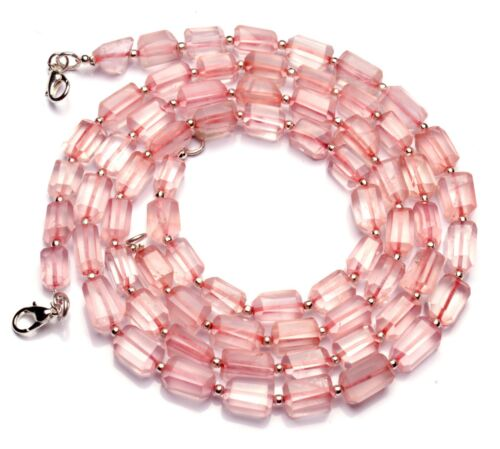 """Natural Gem Rose Quartz Necklace 9x6 to 10x7mm Size Faceted Nugget Beads 17"""""""