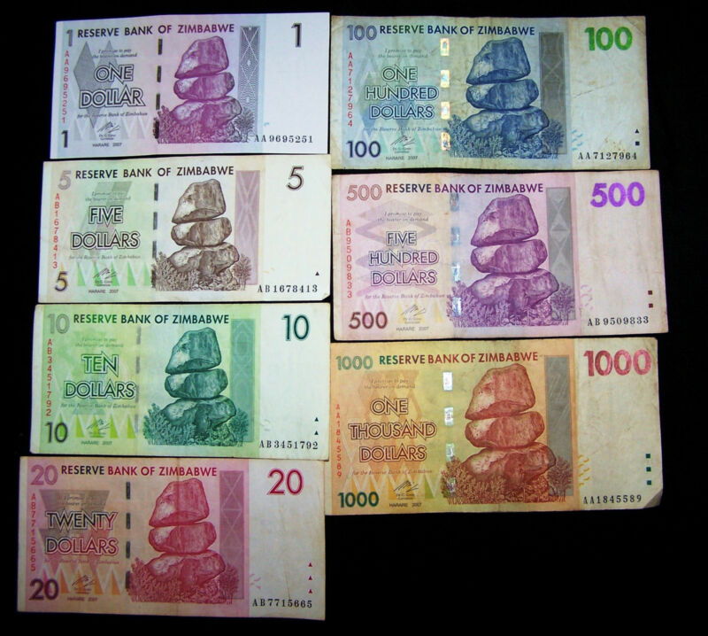 7 Zimbabwe Banknotes-Pre Trillion currency-1 to 1000 dollars
