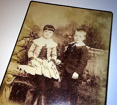 Antique Victorian Children W/ Lovely Fashion! Amsterdam New York Cabinet Photo!