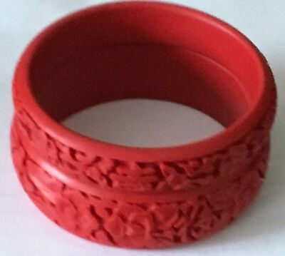Vtg Chinese Red Lacquer Cinnabar Hand Deep Carved Bangle Bracelet Pair Set Of 2