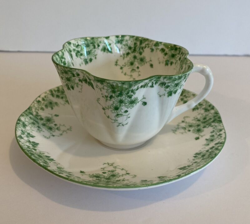 SHELLEY DAINTY GREEN CUP & SAUCER