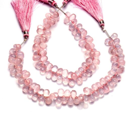 Natural Gem Rose Quartz 10x7mm Size Faceted Teardrop Shape Briolettes Beads 9""