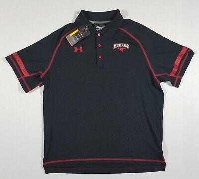 (UNDER ARMOUR Mens SMU Mustangs Polo Shirt | Black Sz Lg | 1238909 | NWT)