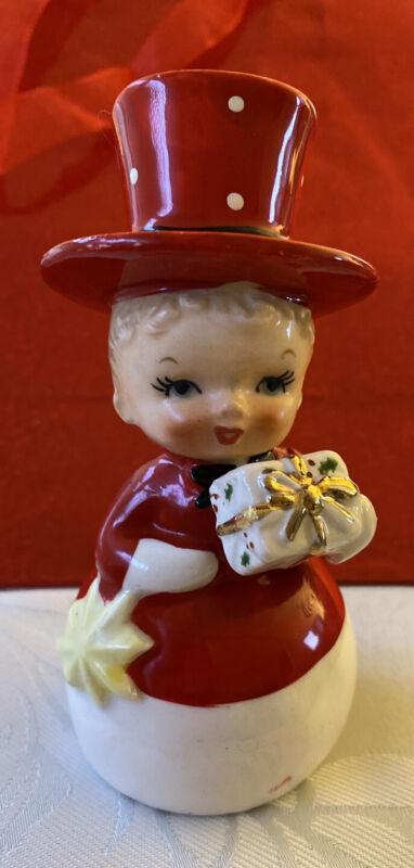 RARE Snowman Body Boy Christmas Figurine With Top-Hat M Japan