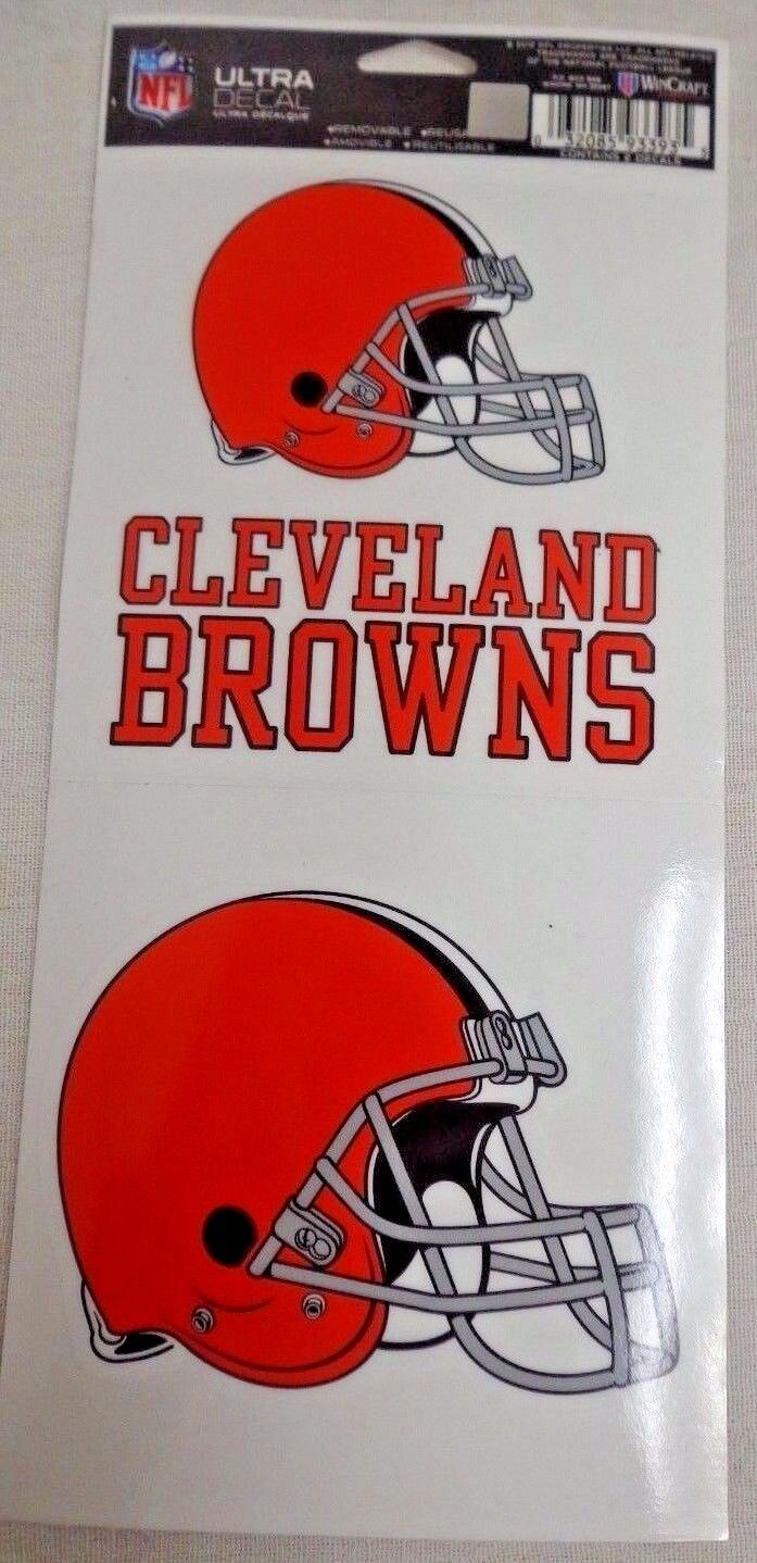 NFL Ultra Decals 2 Pack Set Removable Reusable Sticker Wincraft Cleveland Browns