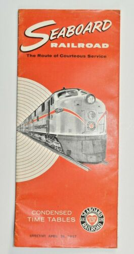 April 1957 SEABOARD RAILROAD TRAIN CONDENSED TIME TABLE FLORIDA TRAVEL CHOICE