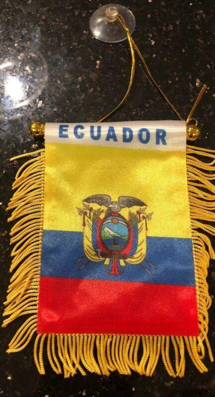 "Ecuador 🇪🇨 4 X 6"" MINI BANNER FLAG CAR WINDOW MIRROR HANGING W Suction New"
