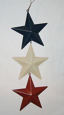 Metal Red White blue Americana Barn Stars Country Primitive star Tin Sign 11x4""