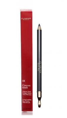 CLARINS Crayon Khol 04 Platinum Long Lasting Eye Pencil + Brush - Eyeliner Grey Clarins Eye Shimmer Pencil