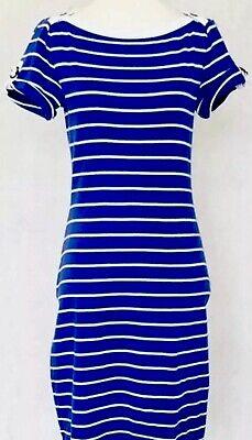 Lauren Ralph Lauren Polo Dress Sz L Blue White Nautical stripe boatneck $99.50