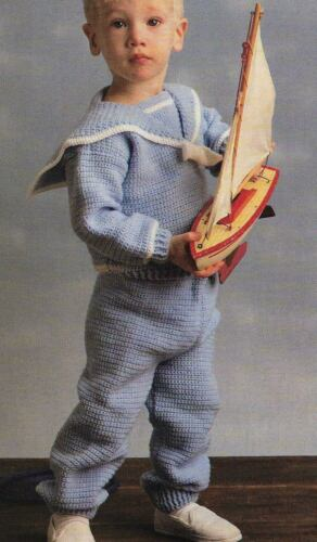 JUNIOR SAILOR SUIT BABY & CHILD 4 SIZES CROCHET PATTERN INSTRUCTIONS